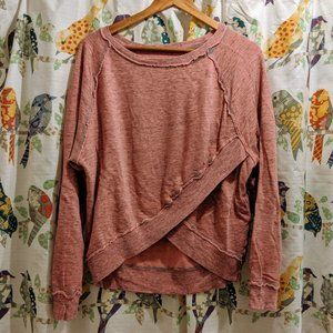 Hard Tail Pink Criss-Cross Over/Under Sweater